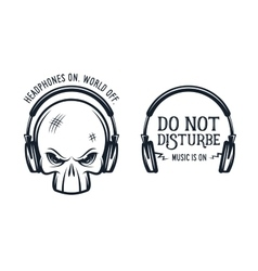 Skull in headphones print with quote vintage vector