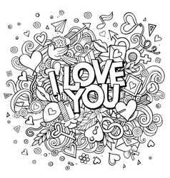 Cartoon hand drawn doodle i love you vector