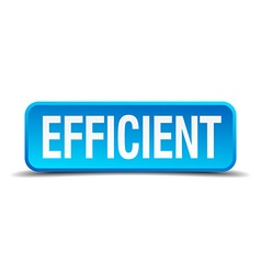 Efficient blue 3d realistic square isolated button vector