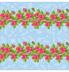 seamless roses blue vector image
