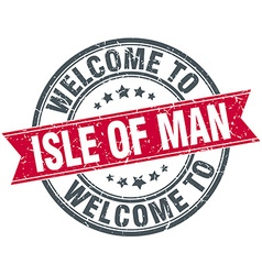 Welcome to isle of man red round vintage stamp vector