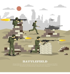 Battlefield military cinematic experience flat vector