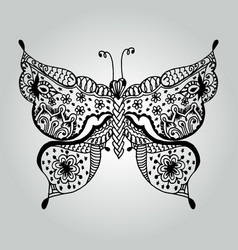 Abstract doodle butterfly wildlife collection vector