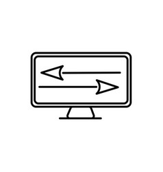 Arrow file transfer monitor online marketing icon vector
