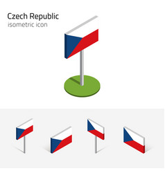 Czech republic flag set 3d isometric icon vector