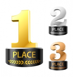 first second and third places vector image