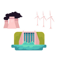 Flat all types of energy resources vector