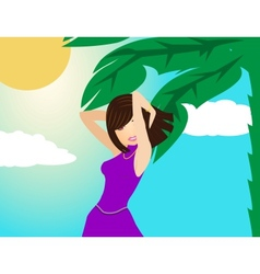 girl model under a palm tree vector image vector image