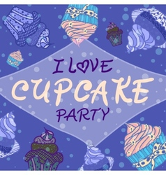 Hand drawn invitationfor card with cupcakes vector image vector image