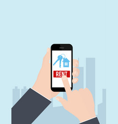 hand holding smartphone with rent apartments vector image