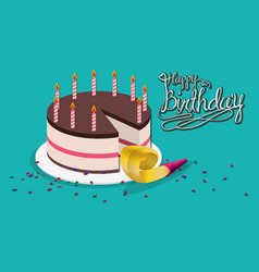 happy birthday cake horn party vector image