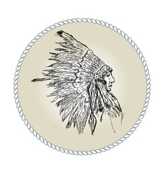 head indian chief vector image