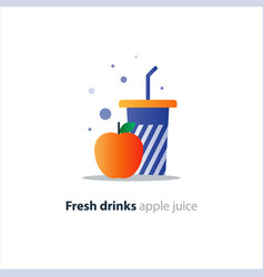 High glass with red apple refreshing fruit drink vector