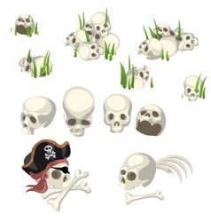 Human skulls and pirate symbols cartoon style vector