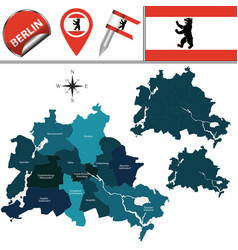 map of berlin with boroughs vector image