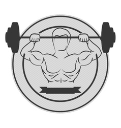 Monochrome circular border with muscle man lifting vector