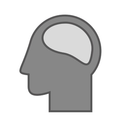 monochrome Silhouette head and human brain vector image vector image