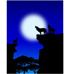 Of wolf howling vector