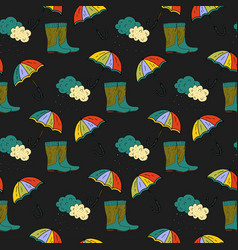 Seamless autumn pattern with umbrella and vector