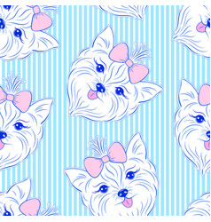 Seamless pattern with head of dog vector