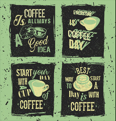 Set of retro coffee grunge posters vector