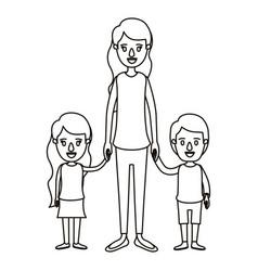 Silhouette caricature full body mother taken hand vector