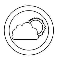 silhouette cloud with sun icon vector image vector image