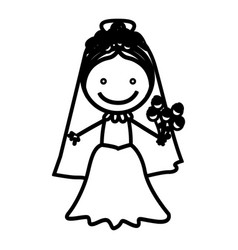 Sketch silhouette woman with costume bride icon vector