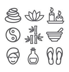 Spa line icons vector image