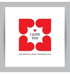 Valentines day greeting card with four hearts vector