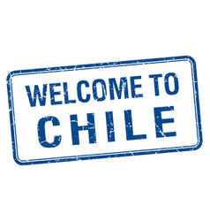 Welcome to chile blue grunge square stamp vector