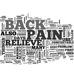 what can i do to relieve back pain text word vector image