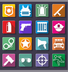 White police and justice icons set vector
