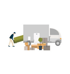 worker loading things for transportation moving vector image