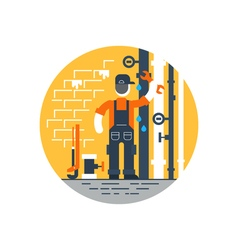 Worker with wrench repairing pipes water dropping vector