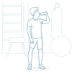 Sportive man drinking water in the gym vector