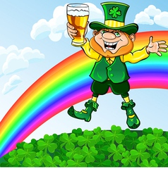 Saint patrick day leprechaun with a glass of beer vector