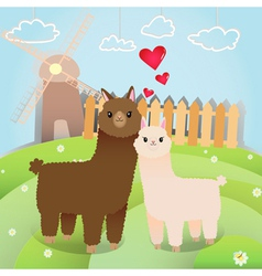 Alpacas couple vector