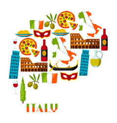 italy background design italian symbols and vector image