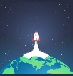 Rocket and the space rocket launch from earth vector