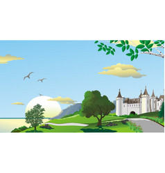 Landscape - road to the fortress on the coast vector