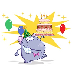 Cute elephant walking with birthday cake vector