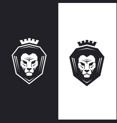 Lion head with king crown logo - vector