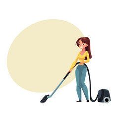 Pretty young woman housewife cleaning house with vector