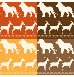 Set of seamless patterns with lion and gazelle vector image