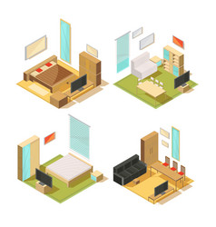 Flat rooms isometric interiors vector
