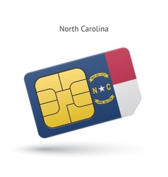 State of north carolina phone sim card with flag vector