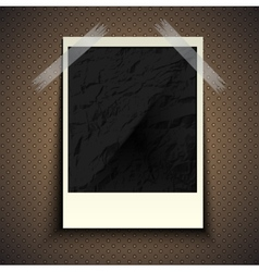 Vintage retro photo hanging on a stone wall with vector