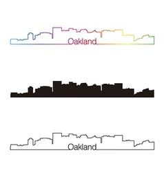 Oakland skyline linear style with rainbow vector