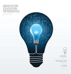 Infographic light bulb flat line idea education vector image